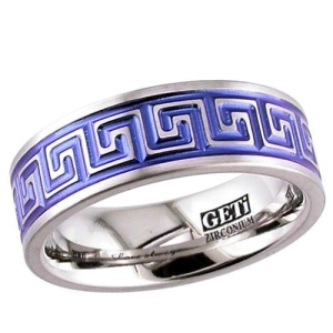 Greek Key Annodised Titanium Ring From Whitewolf Jewellery